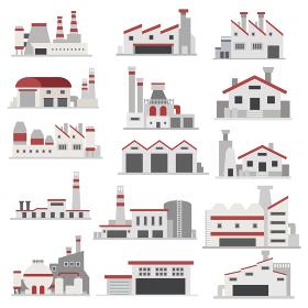 イラスト素材 工場 産業 電力 電気建物 フラットアイコン セット