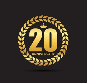 Template Logo 20 Years Anniversary Vector Illustration EPS10. Template Logo 20 Years Anniversary Vector Illustration