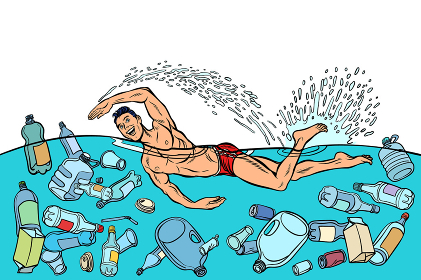 Ocean pollution by plastic trash. Ecology concept. man swimmer s