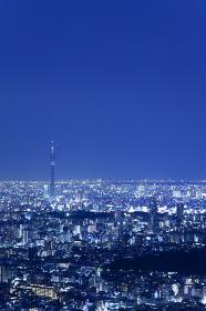建設中の東京スカイツリーと東京の街並み 夜景