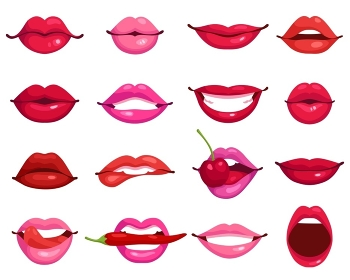 Lips Cartoon Set. Red and rose kissing and smiling cartoon lips isolated decorative icons for party presentation vector illustration