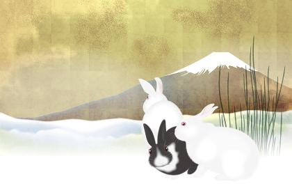 3匹のうさぎと富士山 イラスト