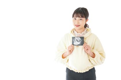 エコー画像を持つ若い妊婦の女性