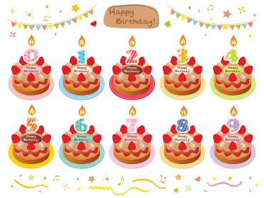 お誕生日のチョコレートケーキと年齢のキャンドルのセット