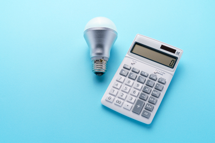 LED電球と電卓