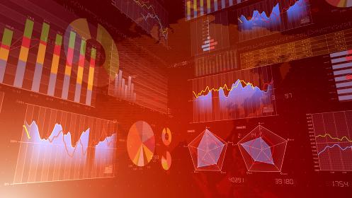ビジネス 経済 金融 データ グラフ チャート 資料 成長 成功 3D イラスト 背景 バック
