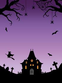 ハロウィン背景 お化け屋敷と魔女