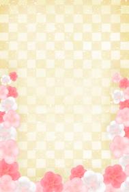 ハガキサイズ キラキラした市松模様と紅白梅の背景 縦