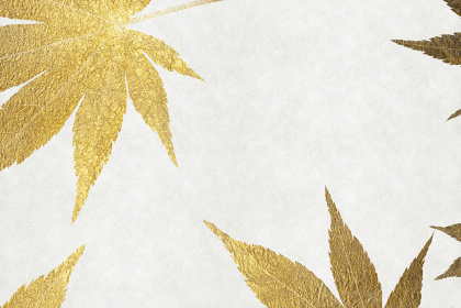 白色の和紙に金色の紅葉の背景画像