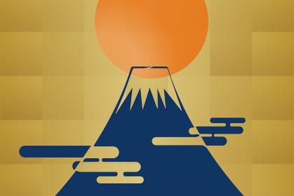 汎用年賀状デザイン イラスト金箔背景初日の出とピクトグラムの富士山 和風テイスト迎春令和New Ye