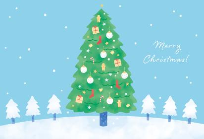 大きなクリスマスツリーのグリーティングカードイラスト