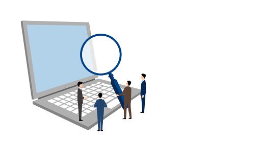 パソコンと虫眼鏡を持つビジネスマン、マーケティングのイラストイメージ