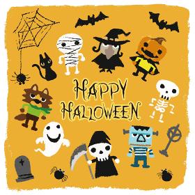 ハロウィンキャラクター(お化けかぼちゃ、ゴースト、魔女、コウモリ、クモ、狼男、モンスター、ガイコツ