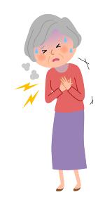 シニア女性 胸 痛み