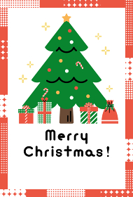 クリスマスカード テンプレート(クリスマスツリーとプレゼント)