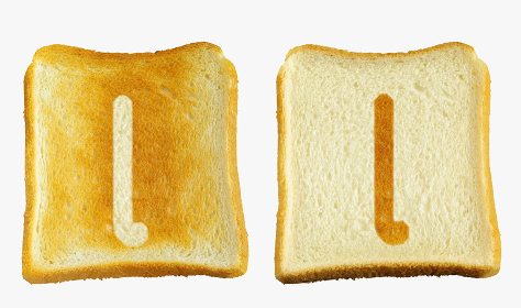 食パンに焼印風のアルファベットの小文字のl