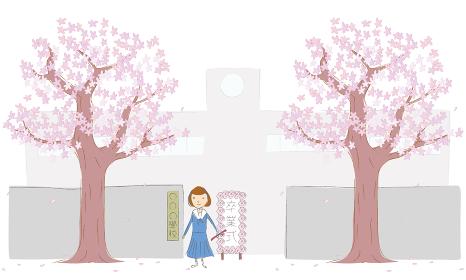 桜の木と学校の正門と女子生徒