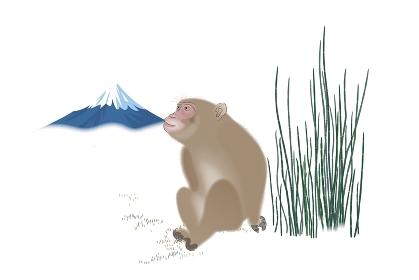 サルと富士山 イラスト