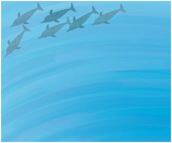 まとまって泳ぐイルカの背景イラストイルカ, 海, 海中, 波紋, 青, 動物, イラスト, ベクター