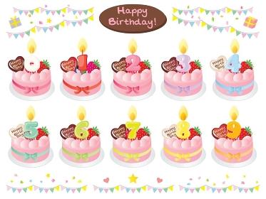 ピンクのお誕生日ケーキと数字の蝋燭のセットイラスト