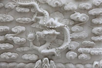 神戸中華街の壁の彫刻