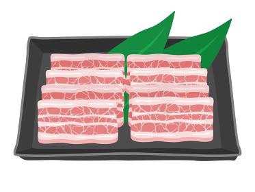焼き肉の豚カルビのイラスト