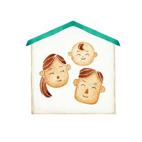 若い夫婦と赤ちゃんの家族 人物 家 水彩 イラスト