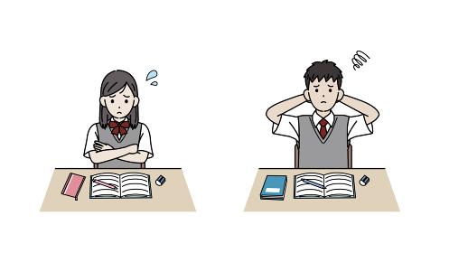 勉強がつまらない学生 授業 退屈 中高生 高校生 中学生 男女 イラスト素材