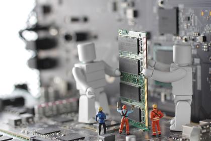 人間とAIロボットが共存する明るいコンピューターの未来社会