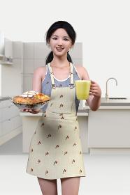 美味しそうなパンやキッシュをお皿にの出てコーヒーと一緒に運ぶエプロンをつけた若い女性
