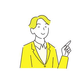 指さし 笑顔の男性 スーツ姿 程よいシンプルなイラスト ベクター