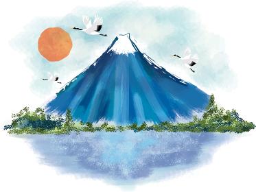 年賀状:富士山 富士 松 風景 年賀状 和風 和柄 和 手描き 山 初日の出