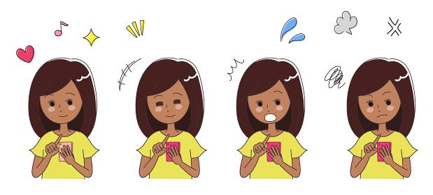 スマホを使用する若い女性 イラスト(黒人・日焼け)