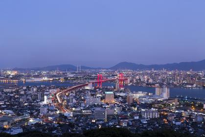 高塔山公園展望台から見た、若戸大橋の夜景 福岡県北九州市
