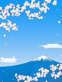 桜と富士山の風景イラスト(縦長)