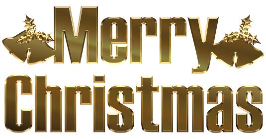 金色メタリックのレリーフ立体的ゴシック体のメリークリスマスのロゴとベル