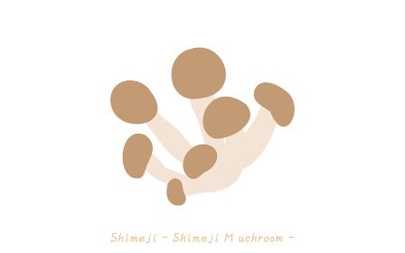 秋の味覚、キノコのシンプルなイラスト ブナシメジ