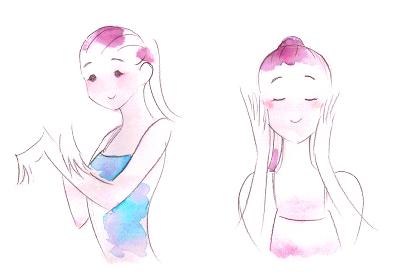 スキンケアをする若い女性の水彩画