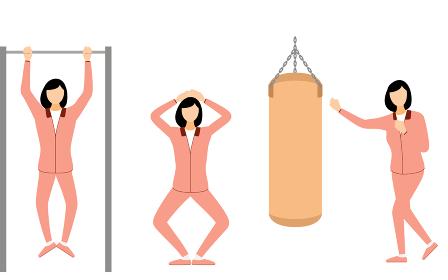 トレーニングウェアの女性、ポーズセット