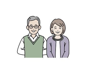 老夫婦 高齢者 年配 男女 笑顔 笑う 上半身 イラスト素材