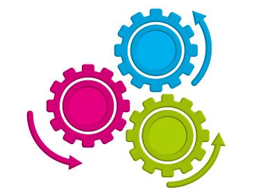 3連矢印レリーフ半立体の歯車ギアのインフォグラフィックスイラスト|コンセプト工業産業ビジネス
