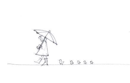 レインコートの女の子と鳥の線画イラスト