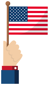 手持ち国旗イラスト ( 愛国心・イベント・お祝い・デモ ) / アメリカ・USA