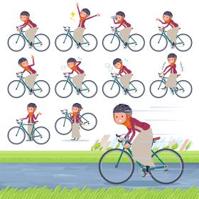 flat type Arab women orange Hijab_road bike
