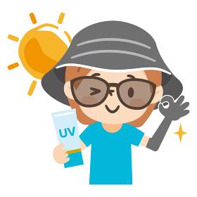 帽子とサングラスで日焼け対策をした若い女性