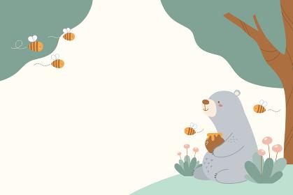 クマとミツバチの春向き背景素材