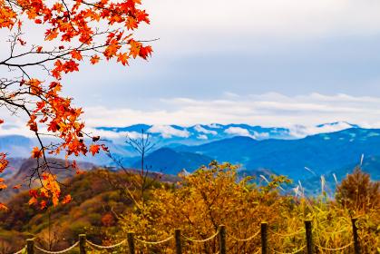 群馬県と長野県の県境にある碓氷峠見晴台の秋の風景