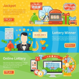 Lottery And Jackpot Horizontal Banners. Lottery and jackpot flat horizontal banners with horseshoe scratch card lottery machine money bag decorative icons vector illustration