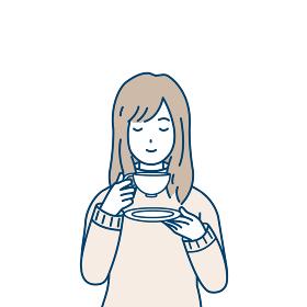 お茶を飲む女性 リラックス