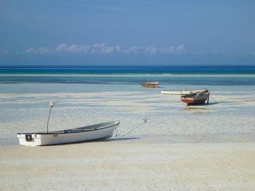 タンザニア・ザンジバル島の遠浅ビーチと白い砂浜に座礁する複数の船